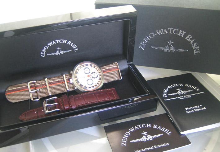 ZENO watch basel BULLHEAD auto chronograph ขนาด king size 43x46 หน้าปัดขาวบอกวันและวันที่ ขอบวงในบอก 7