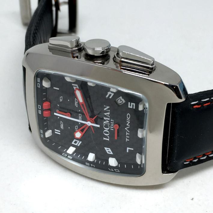 LOCMAN Titanio ITALY Quartz chronograph For man, lady size 37x49mm หน้าปัดดำเคฟล่าประดับหลักเวลาอารบ