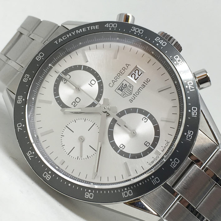 TAG HEUETR Carera Auto chronograph date ขนาด King ize 42mm หน้าปัดบรอนซ์เงินประดับหลักเวลาขีดเงินเงา