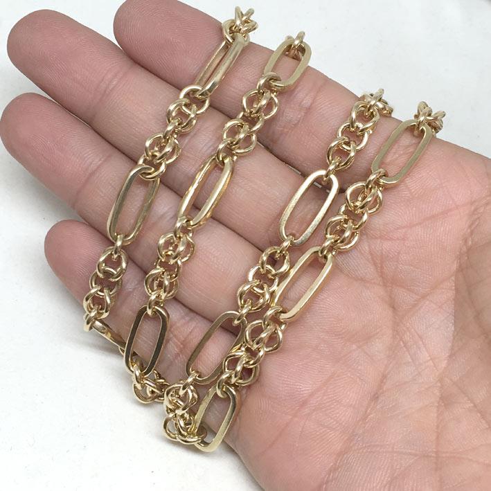 สร้อยคอทอง 9k อังกฤษ pink gold 375 ลายโซ่ ขนาดลายกว้าง 7.5 mm ยาว 62 cm สวมหัวได้ น้ำหนัก 71.2 กรัม 2