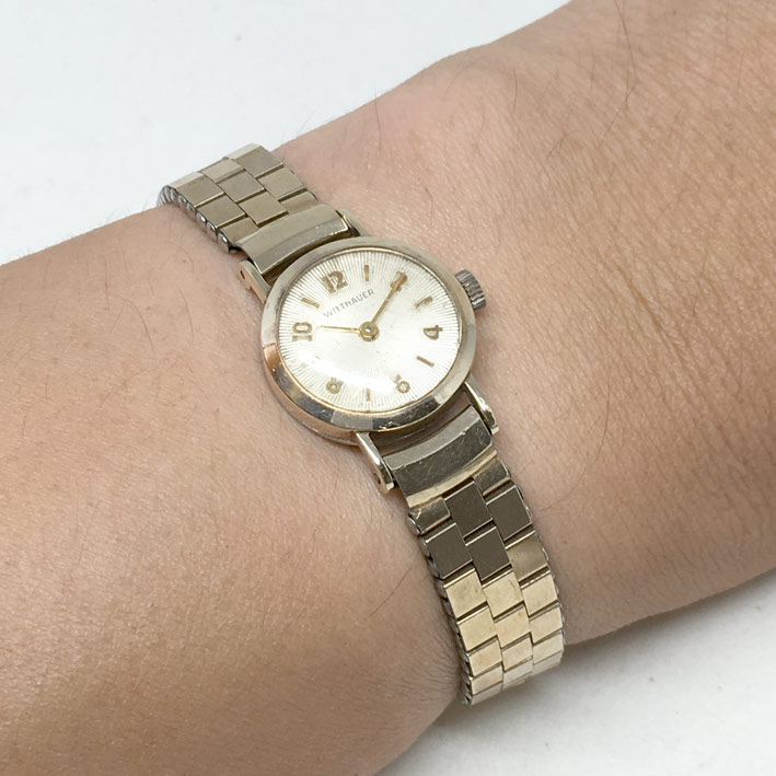 WITHNAUER classic 1950 ขนาด lady size 19mm หน้าปัดขาวเดิมประดับหลักเวลาขีดสลับอารบิค ตัวเรือนและสายก