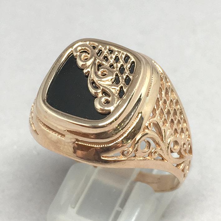 แหวนทองชาย Dandy 9k ฉลุลาย ประดำหินนิลดำ ตัวเรือนทอง Pink gold 375 น้ำหนักทองช่างรวม 7.3 กรัม ขนาดวง