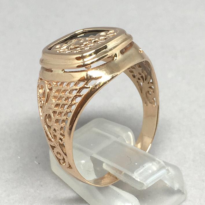 แหวนทองชาย Dandy 9k ฉลุลาย ประดำหินนิลดำ ตัวเรือนทอง Pink gold 375 น้ำหนักทองช่างรวม 7.3 กรัม ขนาดวง 1