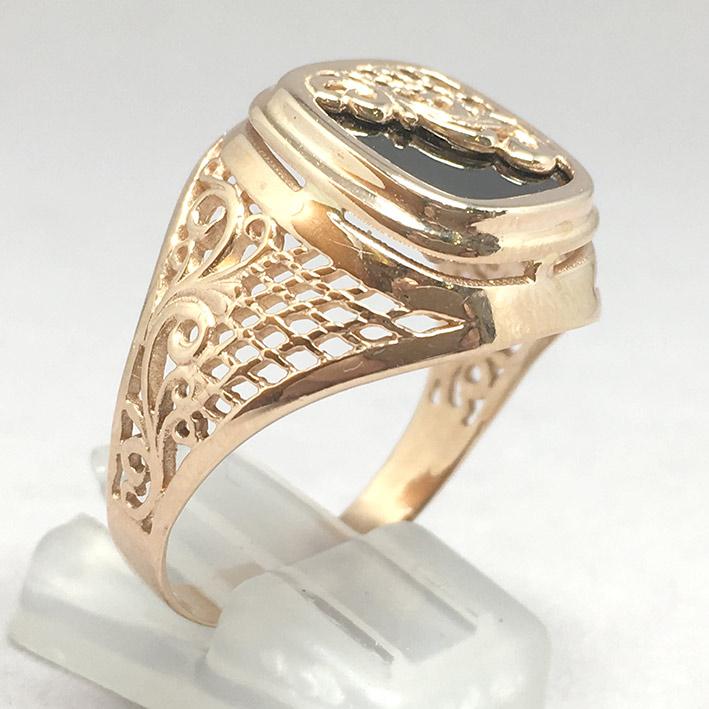 แหวนทองชาย Dandy 9k ฉลุลาย ประดำหินนิลดำ ตัวเรือนทอง Pink gold 375 น้ำหนักทองช่างรวม 7.3 กรัม ขนาดวง 2