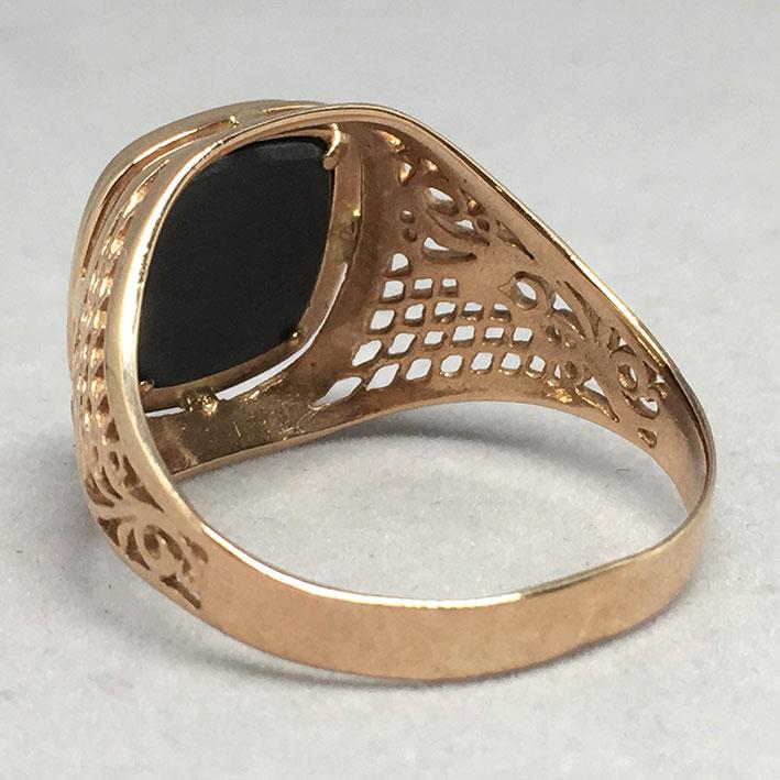 แหวนทองชาย Dandy 9k ฉลุลาย ประดำหินนิลดำ ตัวเรือนทอง Pink gold 375 น้ำหนักทองช่างรวม 7.3 กรัม ขนาดวง 3
