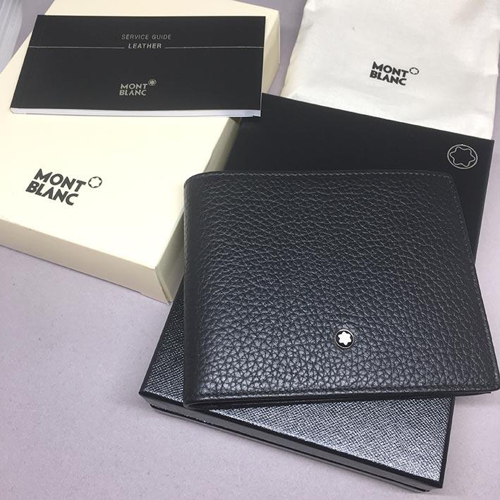 Montblanc Meisterstuck Black Leather Wallet 111124 สำหรับบุรุษ ขนาด 4 1/2 \quot;x 3 1/3\quot; วัสดุห