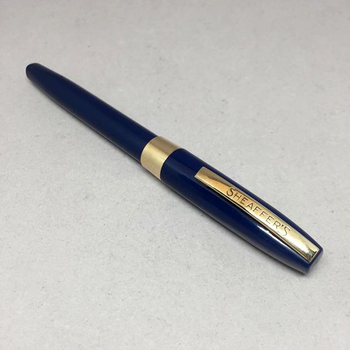 ปากกาหมึกซึม sheaffer USA ตัวด้ามไฟเบอร์น้ำเงิน ชุดเหน็บเคลือบทอง ปากทอง 14k ปลอกดึง สภาพเดิมสวย