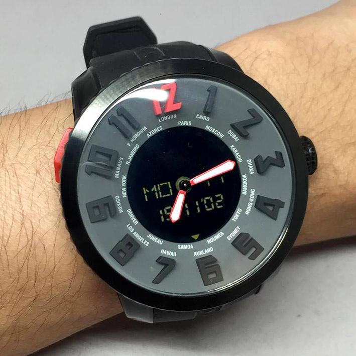TENDENE World Time Back Digital Men's Watch Size 50 mm. (Fullset)