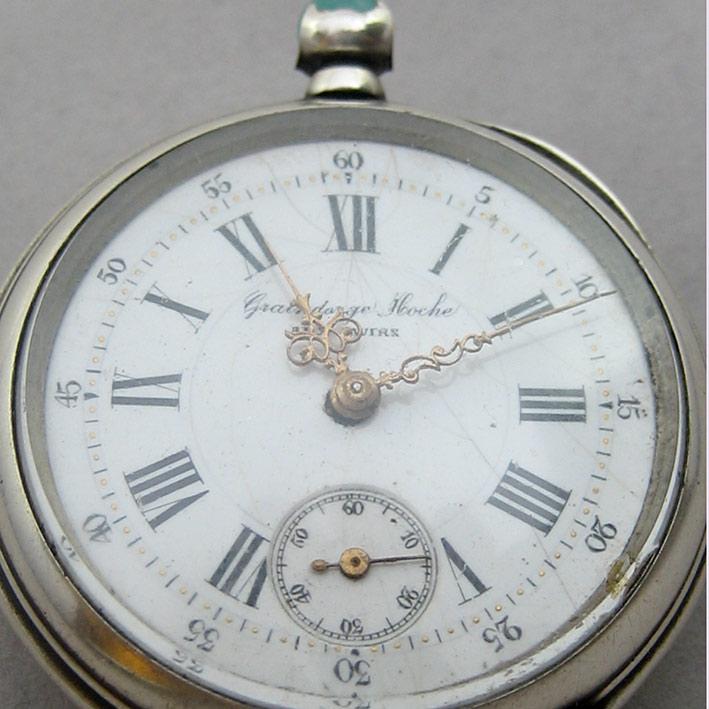 นาฬิกาพกไขลาน Pocket watch GRAINDORGE HOCHE 1930 ขนาดตัวเรือน 848mm หน้าปัดขาวกระเบื้องพิมพ์โรมันดำใ 1