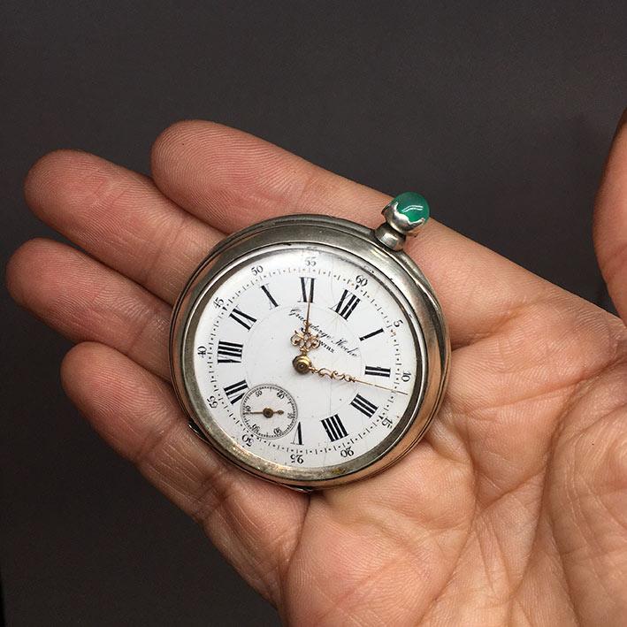นาฬิกาพกไขลาน Pocket watch GRAINDORGE HOCHE 1930 ขนาดตัวเรือน 848mm หน้าปัดขาวกระเบื้องพิมพ์โรมันดำใ