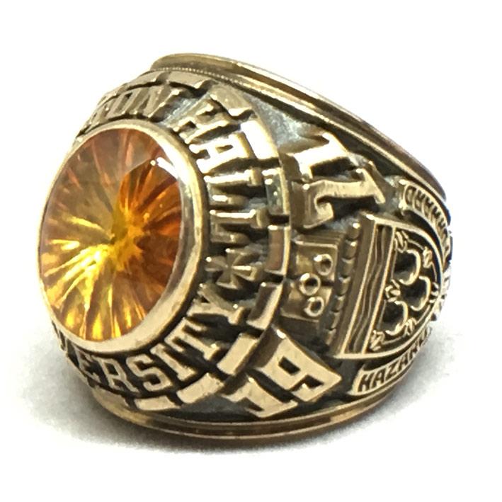 แหวนทอง USA SEATON HALL UNIVER CITY 1971 ประดับพลอยเหลือง ตัวเรือนทอง 10k yellow gold น้ำหนักทองรวม