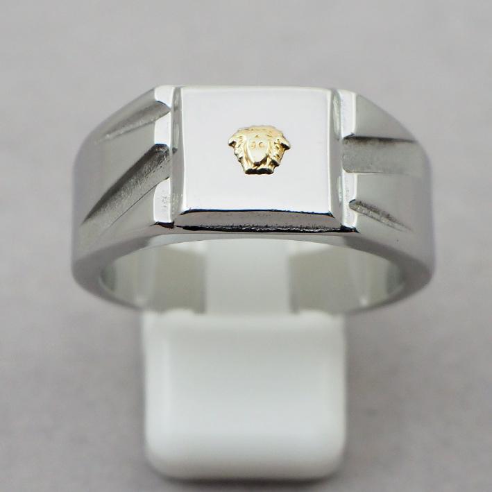 แหวนประดับสัญลักษณ์ทองคำเมดูซ่า หน้าตัวเรือนแสตนเลสหน้าของลายกว้าง 11x11 mm size 67