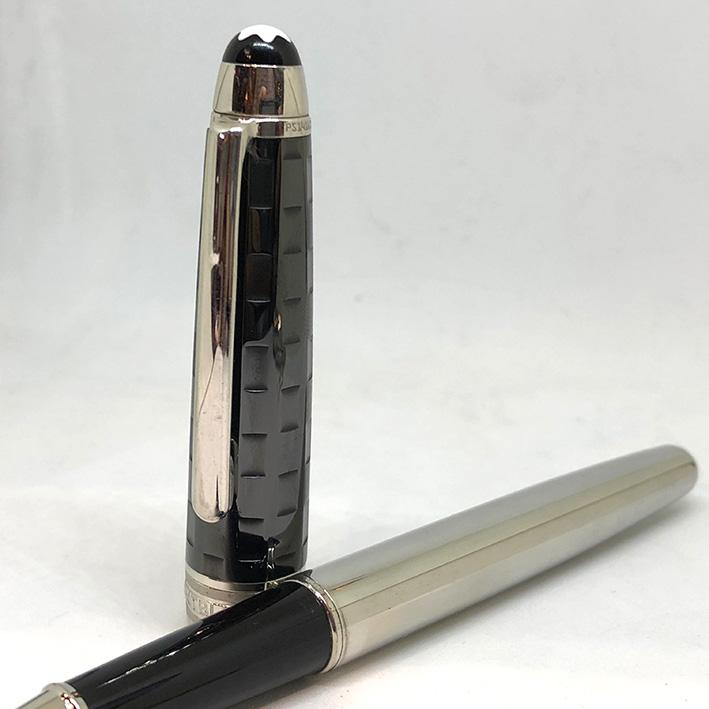ปากกาหมึกเคมี lMONTBLANC Meisterstuck Solitaire Ceramics Black Prisma Roler ball ตัวด้ามเคลือบแพ็ตติ 1