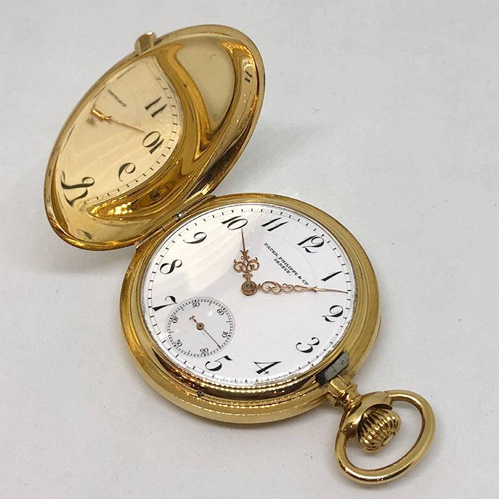 นาฬิกาพกไขลาน PATEK PHILIPPE pocket watch 1900 ขนาดตัวเรือน 46 mm หน้าปัดขาวกระเบื้องพิมพ์อารบิคดำ เ