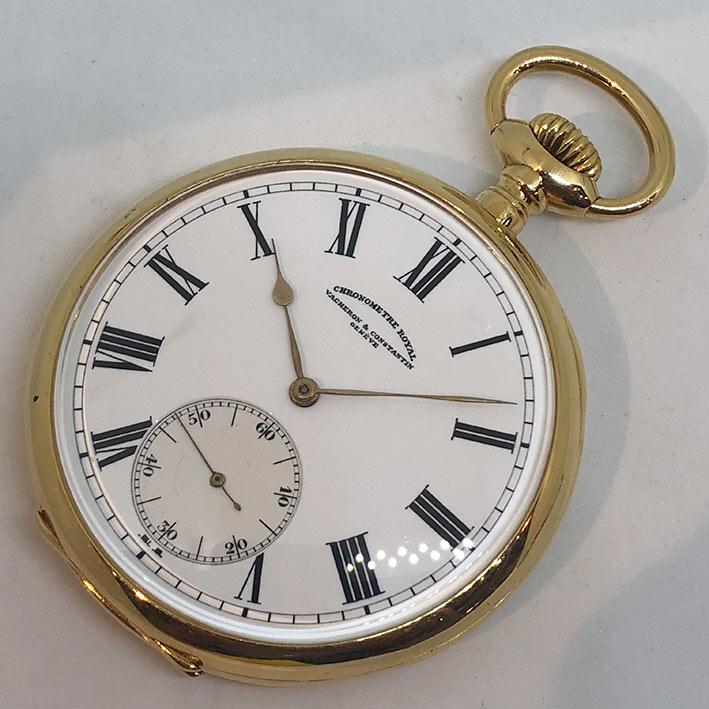 นาฬิกาพก Vacheron Constantin Chronometre Royal ขนาด 57mm หน้าปัดขาวเคลือบกระเบื้องพิมพ์โรมันดำ เดินเ