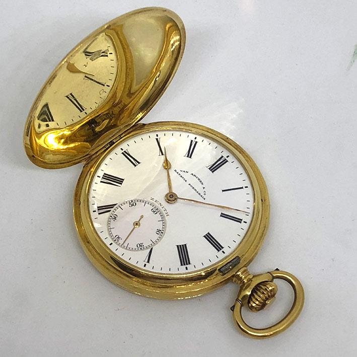นาฬิกาพกไขลาน Zenith pocket watch 1900 ขนาด ตัวเรือน 47 mm หน้าปัดขาวกระเบื้องพิมพ์อารบิคดำ เดินเวลา