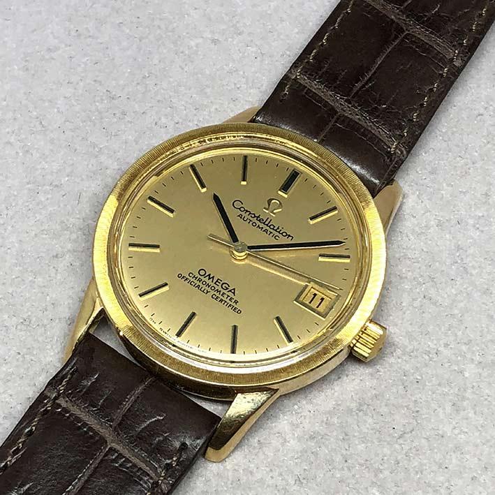 OMEGA Costellation date 1970 chronometer 18k gold ขนาด 34mm หน้าปัดเหลืองทองประดับหลักเวลาขีดทองลงยา 1