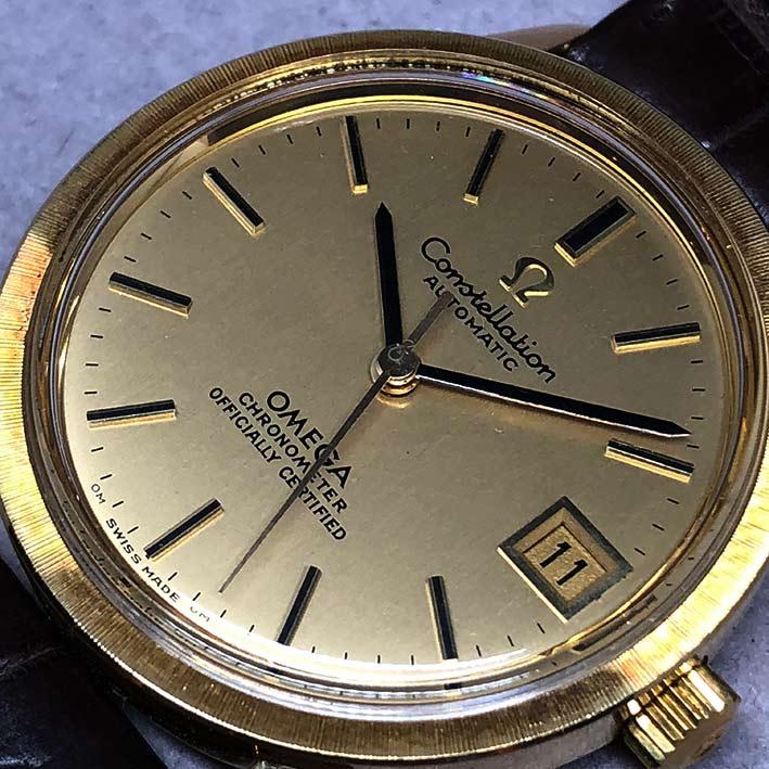 OMEGA Costellation date 1970 chronometer 18k gold ขนาด 34mm หน้าปัดเหลืองทองประดับหลักเวลาขีดทองลงยา 2