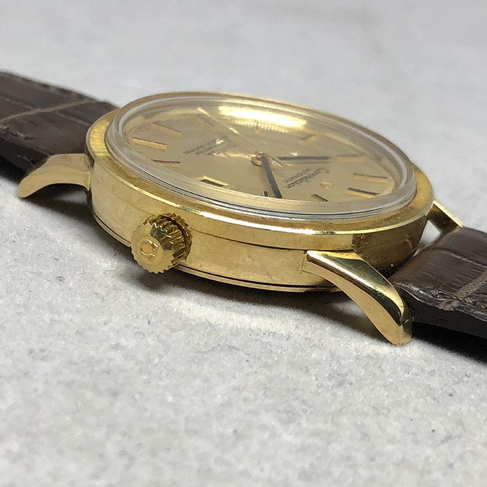 OMEGA Costellation date 1970 chronometer 18k gold ขนาด 34mm หน้าปัดเหลืองทองประดับหลักเวลาขีดทองลงยา 3