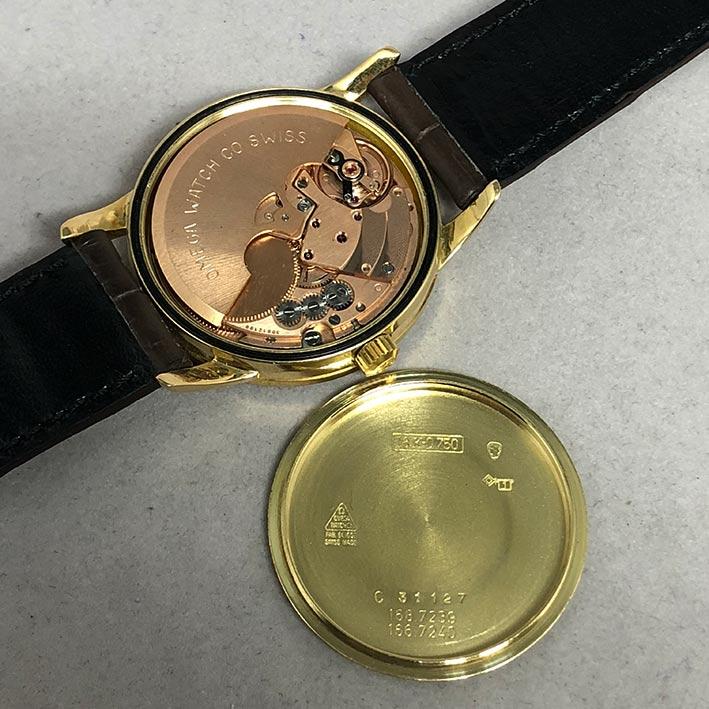 OMEGA Costellation date 1970 chronometer 18k gold ขนาด 34mm หน้าปัดเหลืองทองประดับหลักเวลาขีดทองลงยา 5
