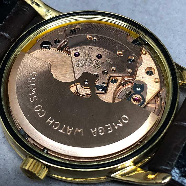 OMEGA Costellation date 1970 chronometer 18k gold ขนาด 34mm หน้าปัดเหลืองทองประดับหลักเวลาขีดทองลงยา 6