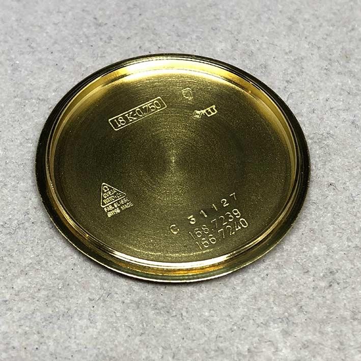 OMEGA Costellation date 1970 chronometer 18k gold ขนาด 34mm หน้าปัดเหลืองทองประดับหลักเวลาขีดทองลงยา 7