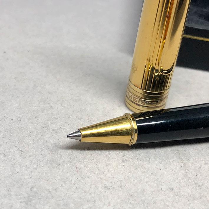 ปากกาหมึกเคมี MONTBLANC meisterstuck ตัวด้ามลายเส้น วัสดุเงินแท้ silver sterling 925 เคลือบทองหนา ชุ 3