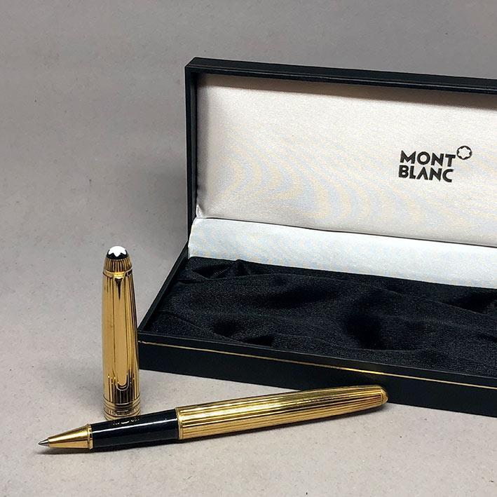 ปากกาหมึกเคมี MONTBLANC meisterstuck ตัวด้ามลายเส้น วัสดุเงินแท้ silver sterling 925 เคลือบทองหนา ชุ 4