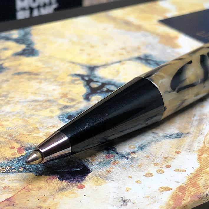 ปากกาหมึกแห้ง MONTBLANC ปี 1994 Limited 10339 / 13000 OSCAR WILDE ตัวด้ามอครีลิคลาย พร้อมชุดเหน็บเคล 3