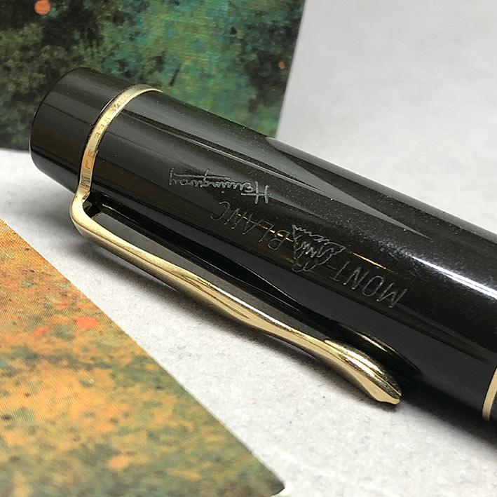 ปากกาหมึกแห้ง MONTBLANC ปี 1992 Limited HEMINGWAY ตัวด้ามอครีลิคน้ำตาลเข้มสลับส้ม พร้อมชุดเหน็บเคลือ 2