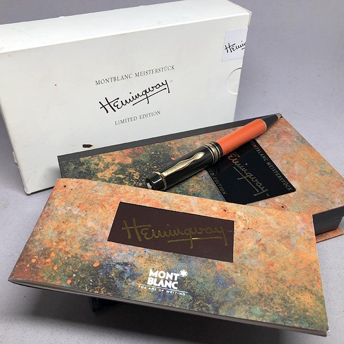 ปากกาหมึกแห้ง MONTBLANC ปี 1992 Limited HEMINGWAY ตัวด้ามอครีลิคน้ำตาลเข้มสลับส้ม พร้อมชุดเหน็บเคลือ 7
