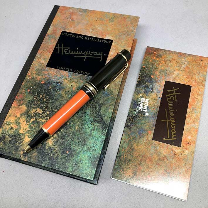 ปากกาหมึกแห้ง MONTBLANC ปี 1992 Limited HEMINGWAY ตัวด้ามอครีลิคน้ำตาลเข้มสลับส้ม พร้อมชุดเหน็บเคลือ 8