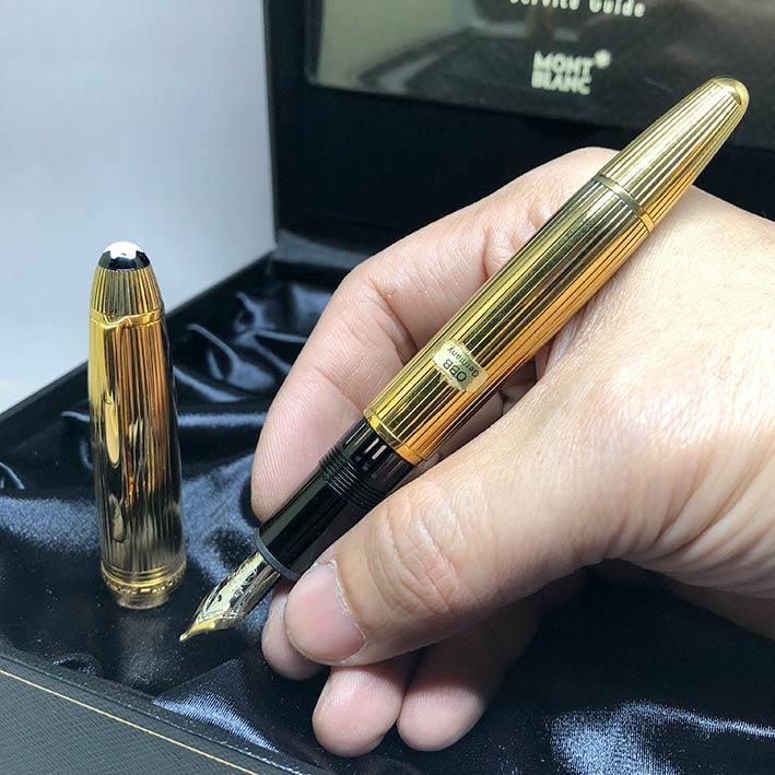 MONTBLANC Fountain Pen 146 Silver เคลือบทองหนาทั้งด้าม ปากทอง 18k ขนาดไลน์เส้นพิเศษ OBB สภาพใหม่ยังไ