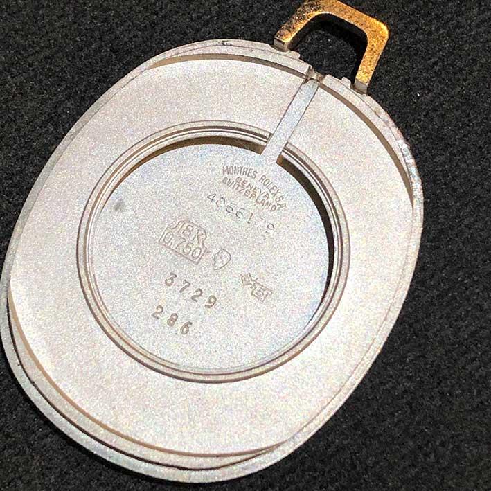 Pocket wach ROLEX Cellini Model 3729, 18k White gold Size 33x45mm หน้าปัดบรอนซ์เงินสไลด์เงา พิมพ์โรม 6