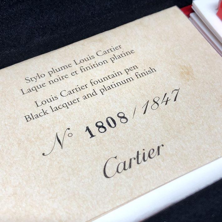 ปากกาหมึกซึม CARTIER Stylo Plume Limited 1808/1847 ปากทองขาว 18k (750) ตัวด้ามและชุดเหน็บเคลือบแพ็ตต 7