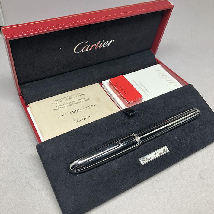 ปากกาหมึกซึม CARTIER Stylo Plume Limited 1808/1847 ปากทองขาว 18k (750) ตัวด้ามและชุดเหน็บเคลือบแพ็ตต 9