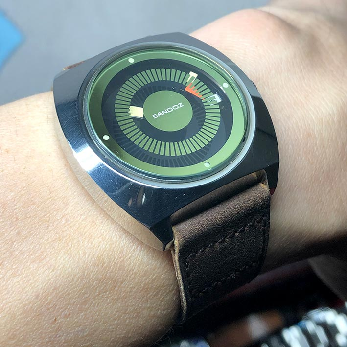 SANDOZ Retro Swiss watch watch 1980 automatic date ใส่ได้ทั้งชาย หญิง ขนาดตัวเรือน 38mm หน้าปัดดำ เด