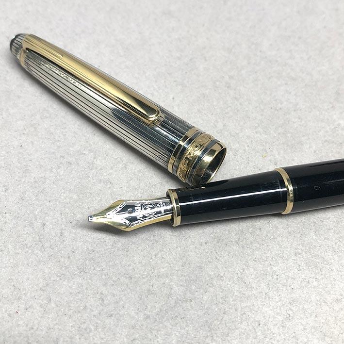 MONTBLANC Fountain Pen 144 2-tone ปากทอง 18k ขนาดไลน์เส้นใหญ่ BB วัสดุตัวด้าม Silver Stering 925 / B 1