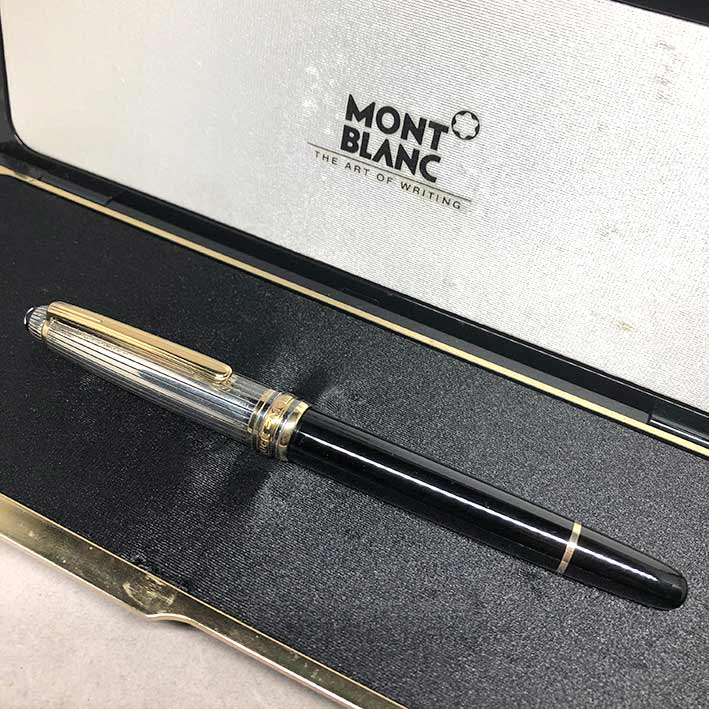 MONTBLANC Fountain Pen 144 2-tone ปากทอง 18k ขนาดไลน์เส้นใหญ่ BB วัสดุตัวด้าม Silver Stering 925 / B 6