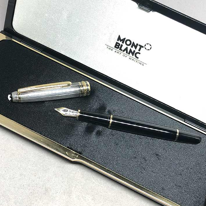 MONTBLANC Fountain Pen 144 2-tone ปากทอง 18k ขนาดไลน์เส้นใหญ่ BB วัสดุตัวด้าม Silver Stering 925 / B 7