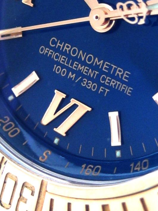 BREITLING Cockpit Chronometer 100m D67365 Lady size  31mm หน้าปัดน้ำเงินประดับหลักเวลาโรมันสลับขีดทอ 3