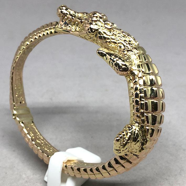 กำไลทองคำ 14k รูปทรงจระเข้ รัดรอบข้อมือ งานโปร่งสวย น้ำหนักทองช่างรวม 10.4 กรัม ขนาดวงรอบข้อมือที่สว 4