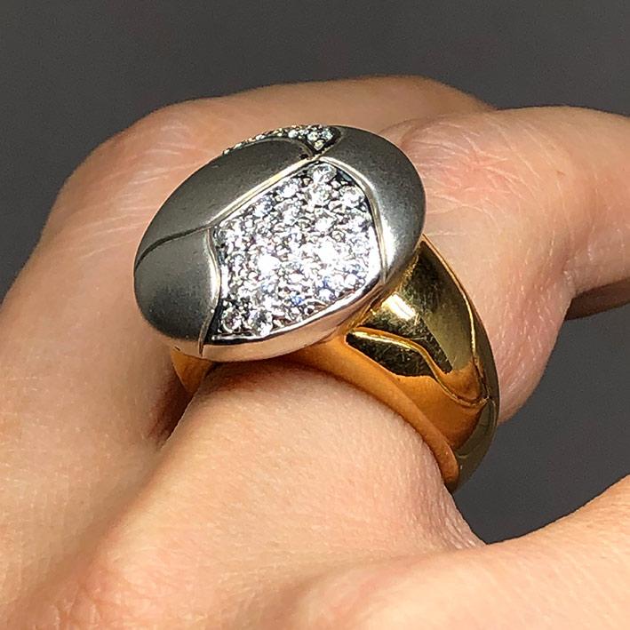 แหวนทองแฟชั่นสไตล์ ประดับเพชรแท้ 35 เม็ด รวมน้ำหนัก 0.81 กะรัต ตัวเรือนทอง 18k Yellow gold ชุบหน้าขา