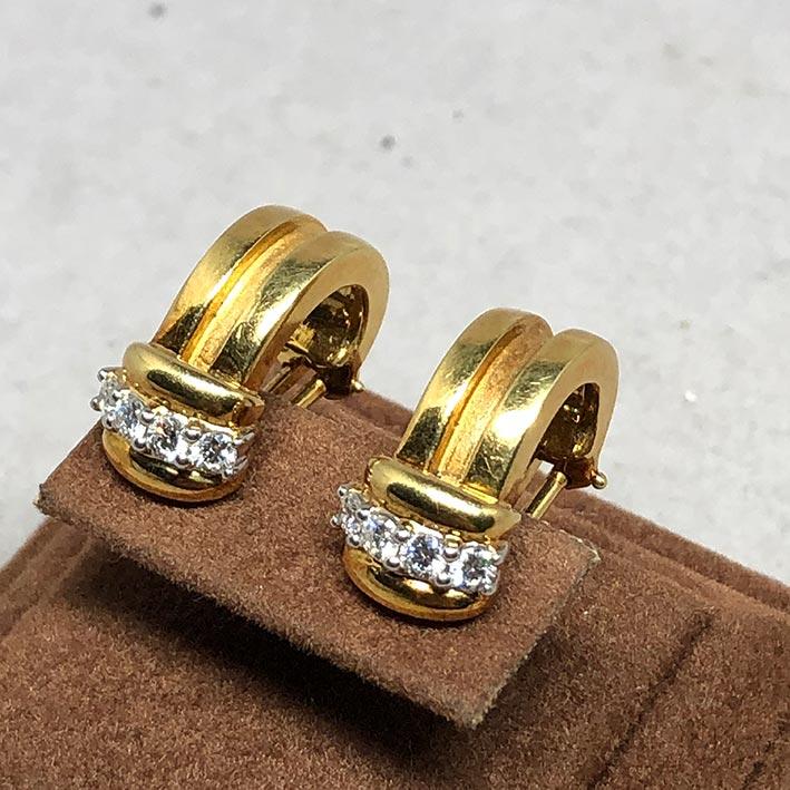 ต่างหู TIFFANY 1995 Diamond ประดับเพชร 8 เม็ด รวม 0.48 กะรัต ตัวเรือน18k Yellow gold ระบบหนีบ 1