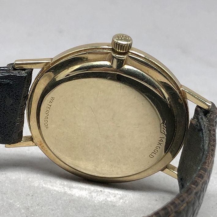 LORD ELGIN 23 1970 ระบบไขลาน ขนาด 33mm หน้าปัดบรอนซ์เงินประดับหลักเวลาขีดทอง เดินเวลา 3 เข็ม กระจกเซ 3