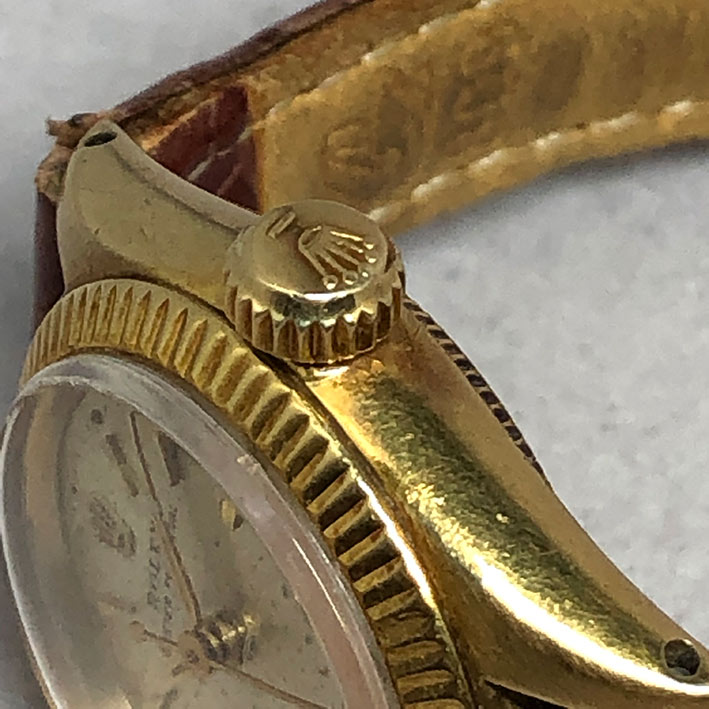 ROLEX Oyster Perpetual 1960s 18k gold Lady size 25mm หน้าปัดบรอนซ์เงินประดับหลักเวลาขีดทอง เดินเวลา 3