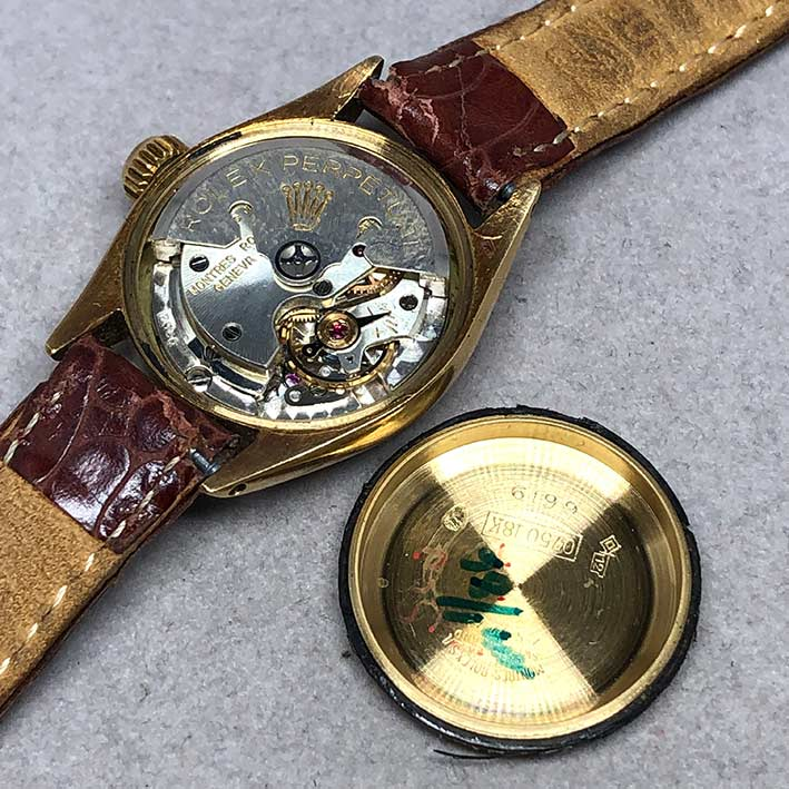 ROLEX Oyster Perpetual 1960s 18k gold Lady size 25mm หน้าปัดบรอนซ์เงินประดับหลักเวลาขีดทอง เดินเวลา 5