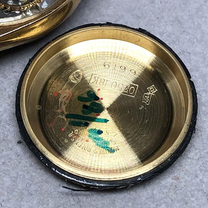 ROLEX Oyster Perpetual 1960s 18k gold Lady size 25mm หน้าปัดบรอนซ์เงินประดับหลักเวลาขีดทอง เดินเวลา 6