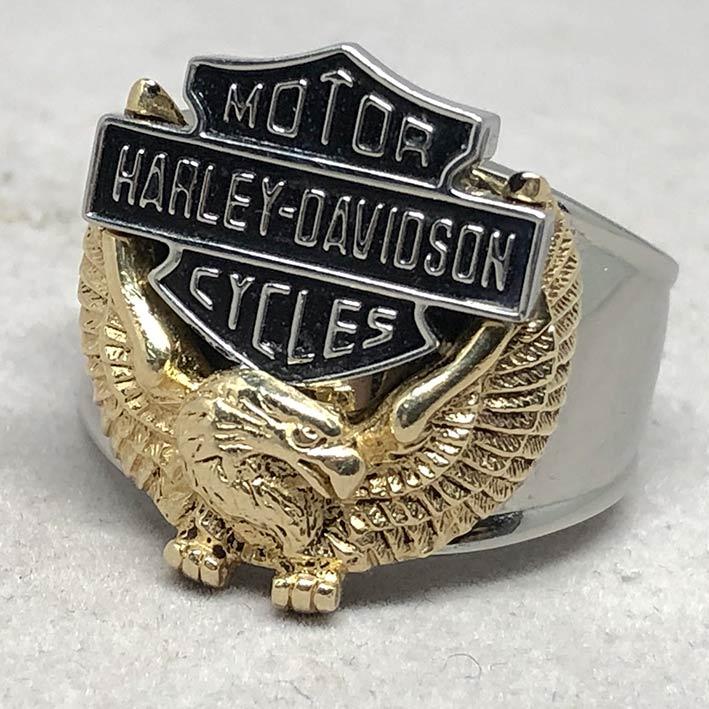 แหวน HARLEY DAVIDSON ตัวเรือน Stainless steel สลับทอง 10k แสตมป์ลึก ขนาดวงนิ้ว 63