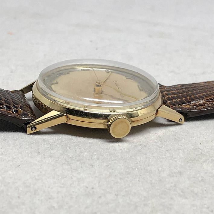 นาฬิกาวินเทจ BULOVA 1950 ระบบไขลาน ขนาดตัวเรือน 32.5mm หน้าปัดบรอนซ์เงินประดับหลักเวลาขีดอารบิคทอง เ 3